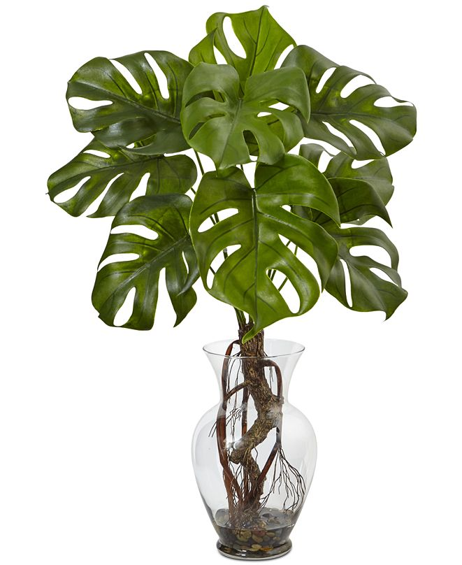 """Nearly Natural 26"""" Monstera Artificial Plant in Glass Vase with Rocks"""