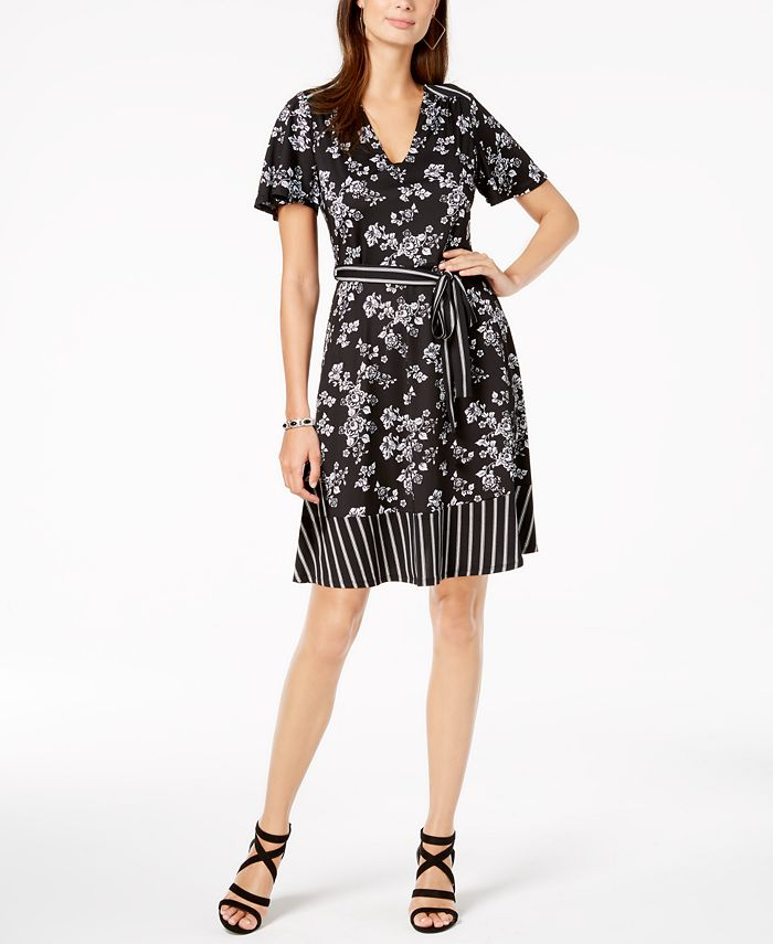 Monteau - Petite Belted Mixed-Print Dress