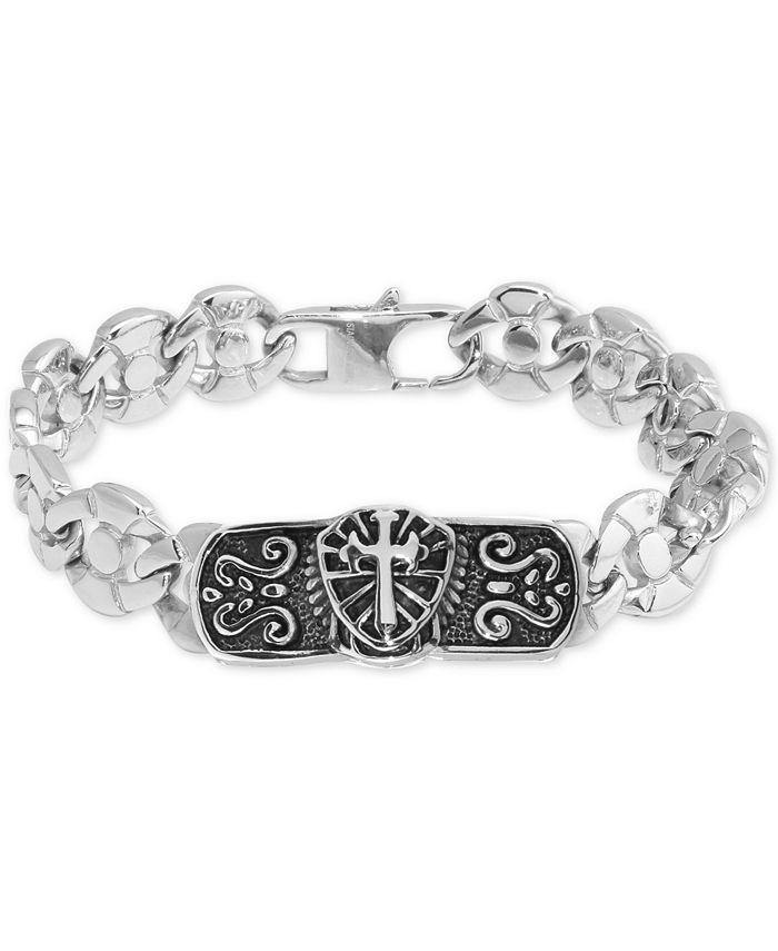 Macy's - Men's Cross Plate Circle Link Bracelet in Stainless Steel & Black Ion-Plate