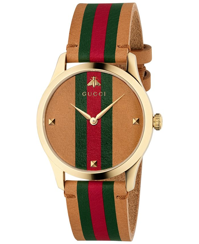 Gucci - Men's Swiss G-Timeless Brown Leather Strap Watch 38mm