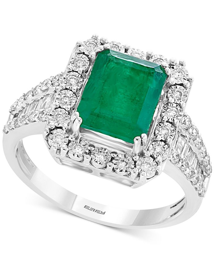 EFFY Collection - Emerald (2-1/5 ct. t.w.) & Diamond (1/2 ct. t.w.) Ring in 14k White or Yellow Gold