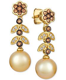 Le Vian® Cultured Golden South Sea Pearl (9mm) & Diamond (1/2 ct. t.w.) Drop Earrings in 14k Gold