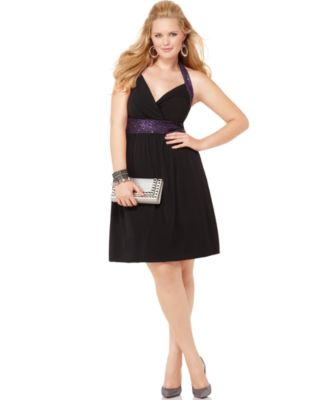 Ruby Rox Plus Size Dress, Halter Sequined Empire A-Line
