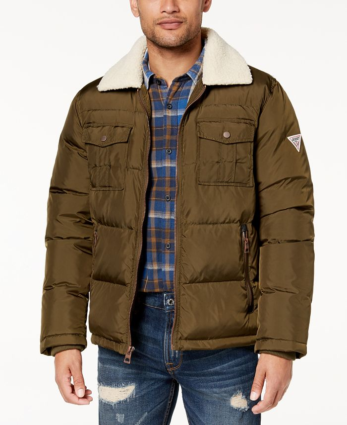 GUESS - Men's Quilted Jacket with Fleece Collar