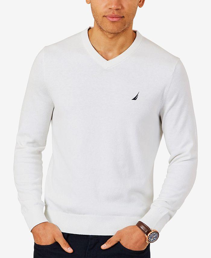 Nautica - Men's Lightweight Jersey V-Neck Sweater