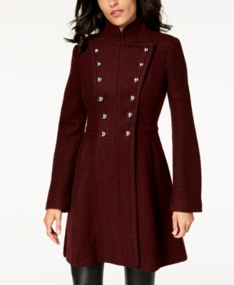 GUESS Double-Breasted Skirted Coat
