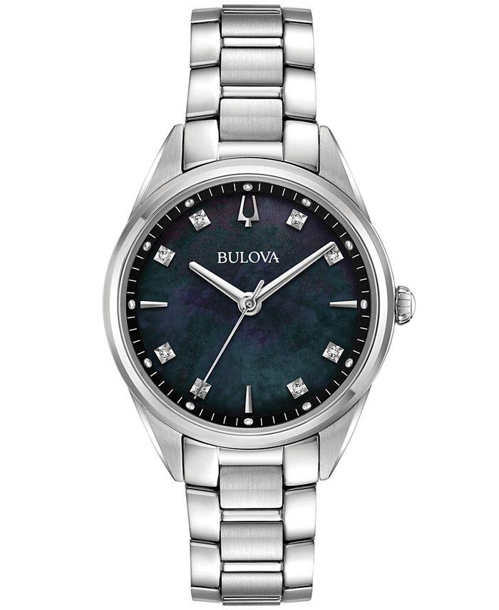 Bulova - Women's Sutton Diamond-Accent Stainless Steel Bracelet Watch 32mm