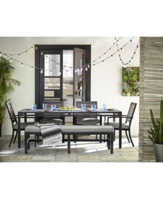 """Marlough II Outdoor Aluminum 6-Pc. Dining Set (84"""" x 42"""" Dining Table, 4 Dining Chairs and 1 Bench) with Sunbrella® Cushions, Created for Macy's"""
