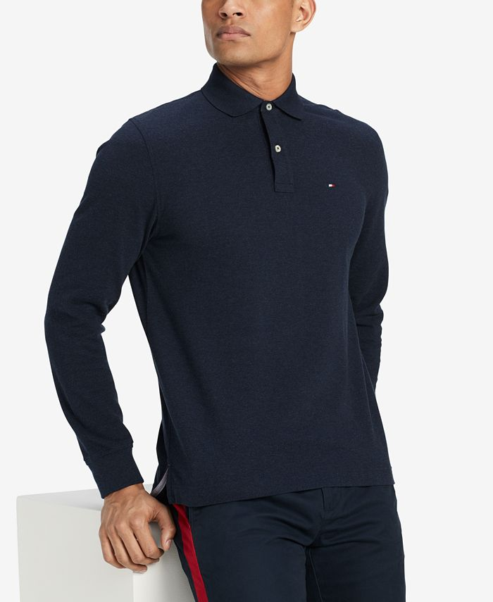 Tommy Hilfiger Men's Classic Fit Long Sleeve Polo Shirt, Created ...