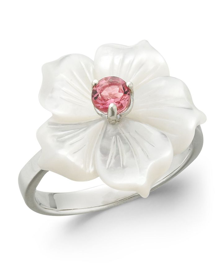 Macy's - Pink Tourmaline (1/4 ct. t.w.) & Mother-of-Pearl Flower Ring in Sterling Silver