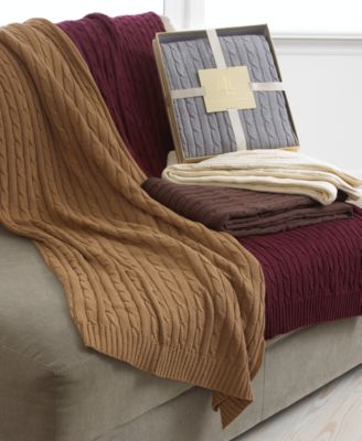 Lauren Ralph Lauren Blanket Cable Knit Throw Bedding