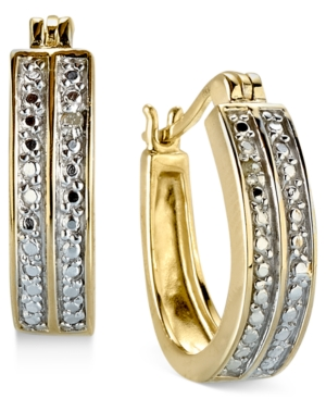 Victoria Townsend 18k Gold over Sterling Silver Earrings, Diamond Accent Two Row Hoop Earrings