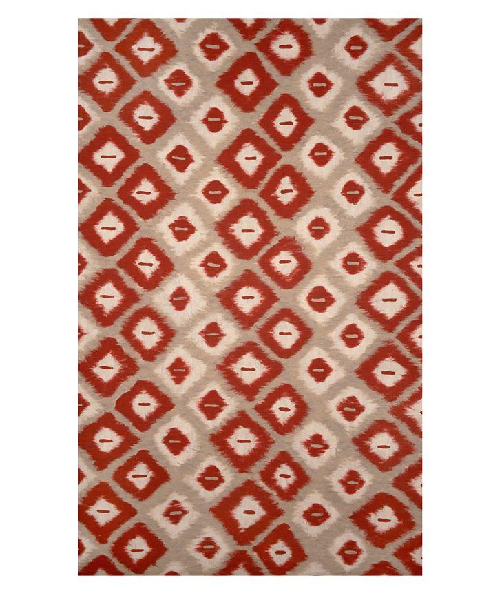 "Liora Manne' - Area Rug, Indoor/Outdoor Lamontage Vision II Ikat Diamonds Red 27"" x 8'"