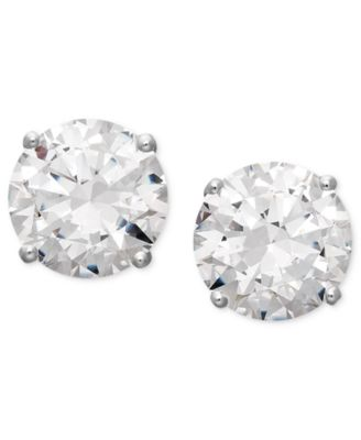 14k White Gold Earrings, Swarovski Zirconia Round Stud Earrings (3-1/2 ct. t.w.) (Also available in 14k Yellow Gold)