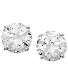 Arabella 14k White Gold Earrings, Swarovski Zirconia Round Stud Earrings (3-1/2 ct. t.w.) (Also available in 14k Yellow Gold)