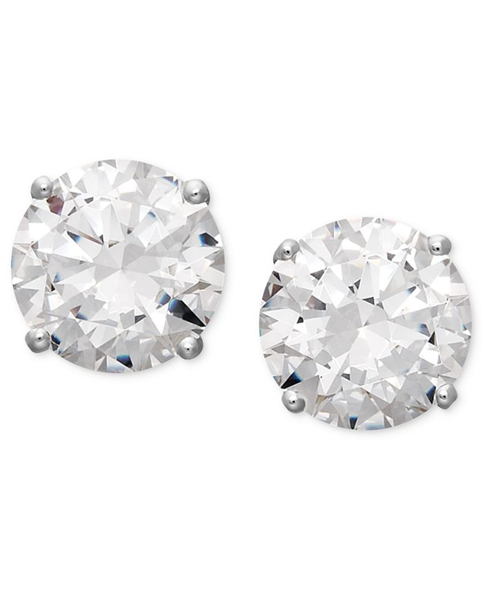 Arabella - 14k White Gold Earrings, Swarovski Zirconia Round Stud Earrings (3-1/2 ct. t.w.)  (Also available in 14k Yellow Gold)