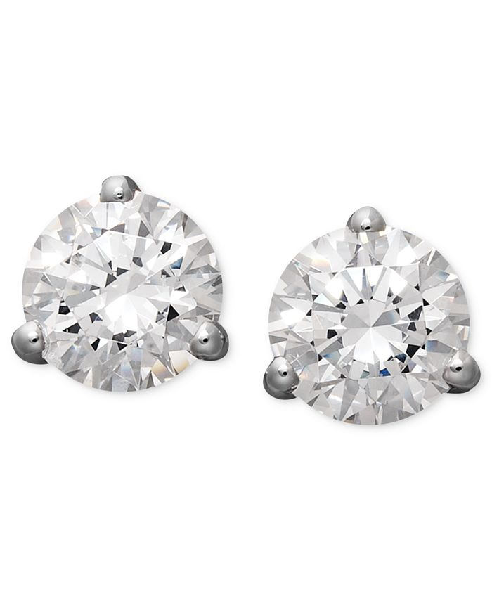 Arabella - 14k White Gold Earrings, Swarovski Zirconia Round Stud Earrings (4-1/4 ct. t.w.)