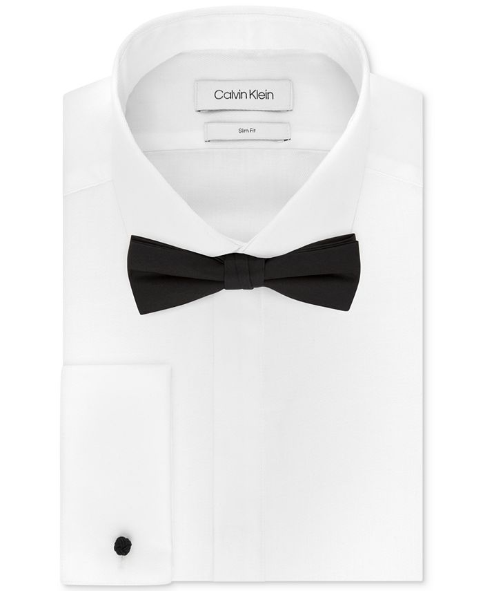 Calvin Klein - Men's Slim-Fit Solid French Cuff Dress Shirt & Pre-Tied Solid Bow Tie Set