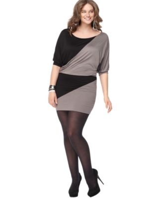 Soprano Plus Size Dress, Short Sleeve Colorblocked
