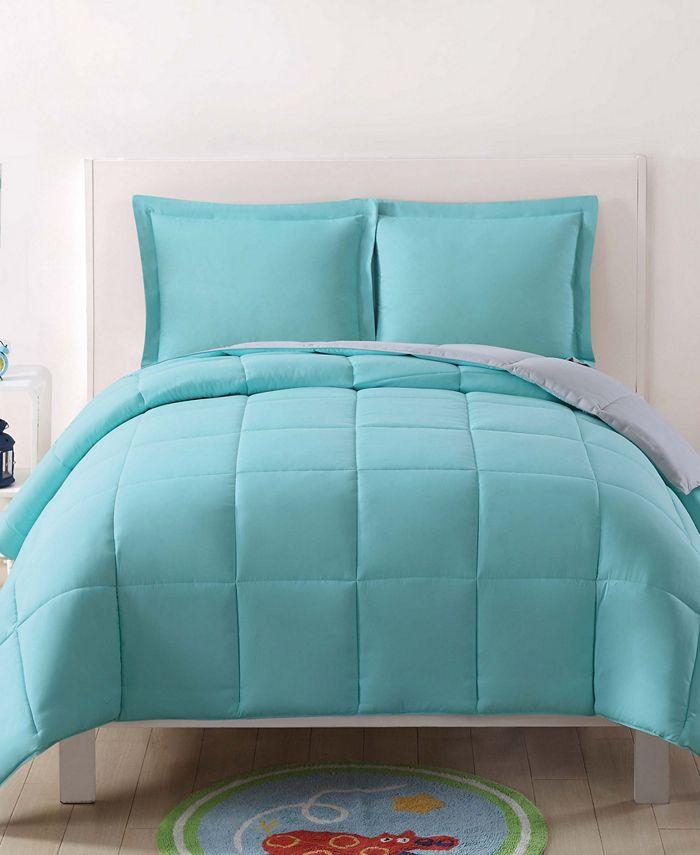 My World - Laura Hart Kids Solid Turquoise and Grey Reversible 3 Piece Full / Queen Comforter Set