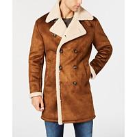 Guess Men's Faux-Shearling Overcoat Coat (Medium Brown)