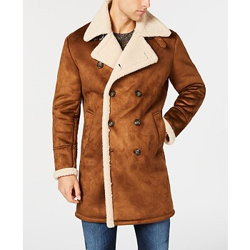 Guess Men's Faux-Shearling Overcoat Coat