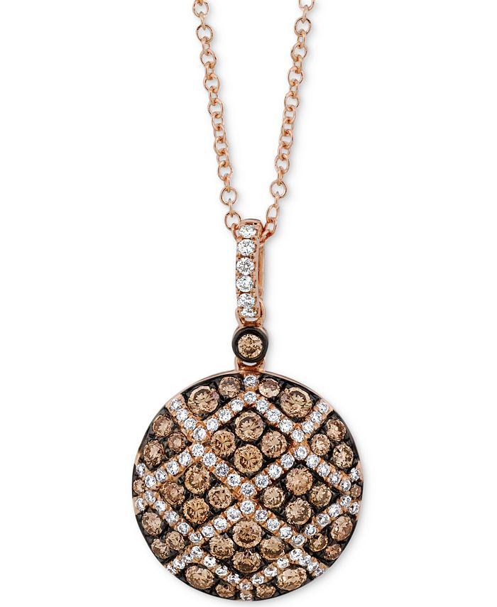 """Le Vian - Diamond Pavé 18"""" Pendant Necklace (7/8 ct. t.w.) in 14k Rose Gold"""