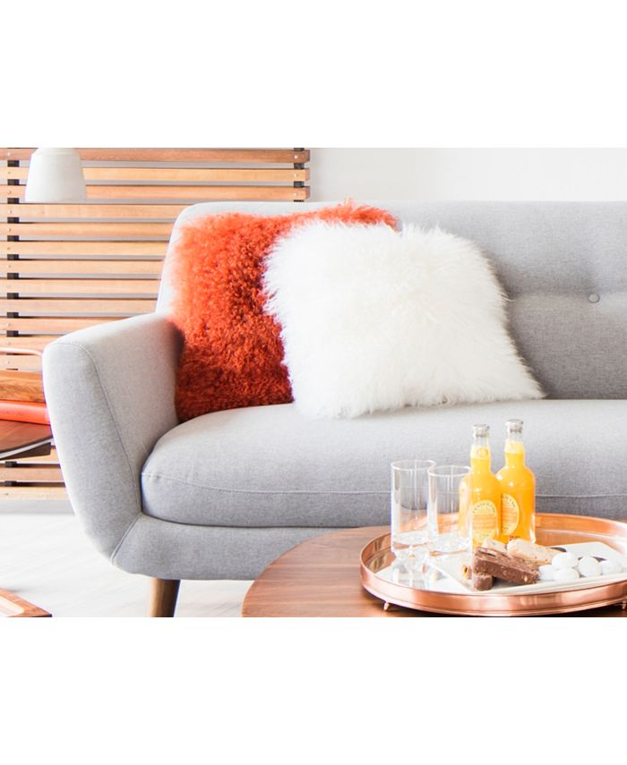 Moe's Home Collection - LAMB FUR PILLOW ORANGE
