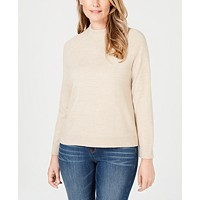 Deals on Karen Scott Petite Luxsoft Zip-Back Mock-Neck Sweater