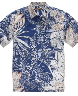 Cubavera Shirt, Linen Cotton Short Sleeve Leaf Print