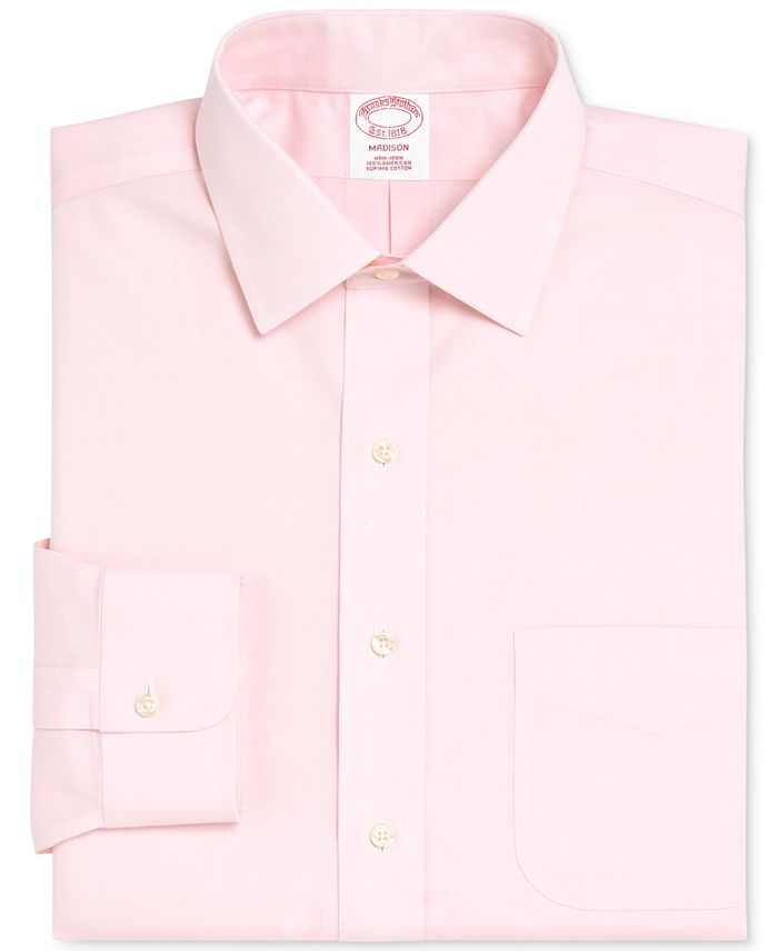 Brooks Brothers - Men's Madison Classic/Regular Fit Non-Iron Solid Pinpoint Solid Dress Shirt