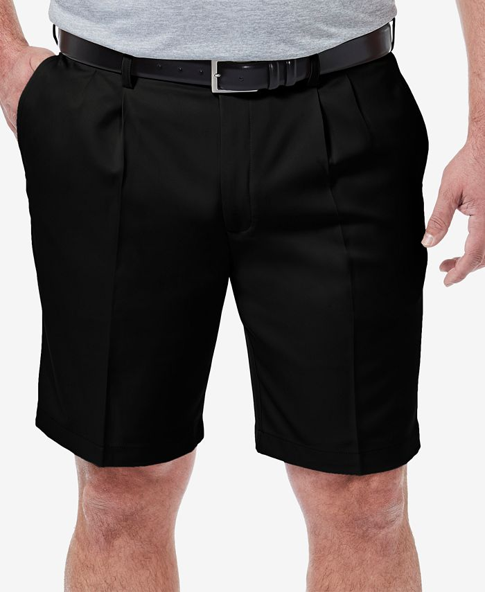 "Haggar - Men's Big & Tall Cool 18 PRO Classic-Fit Stretch Pleated 9.5"" Shorts"