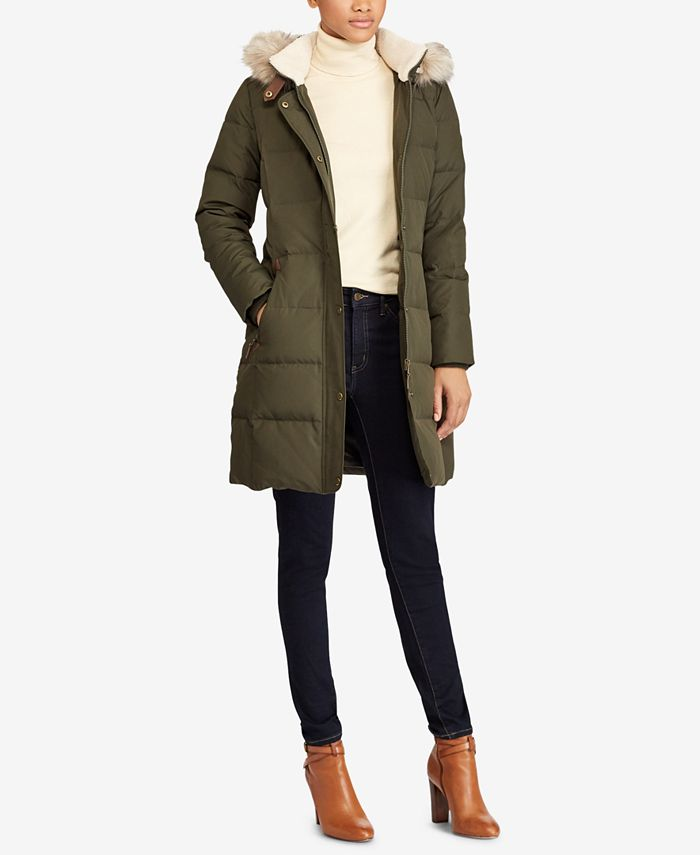 Lauren Ralph Lauren - Petite Faux-Fur-Trim Quilted Down Coat