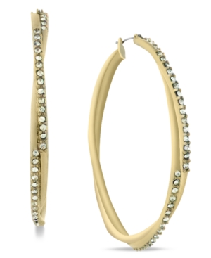 Jessica Simpson Earrings, Gold Tone Crystal Twist Hoop Earrings