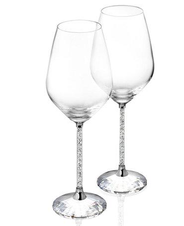 Swarovski stemware set of 2 crystalline white wine glassware stemware dining - Swarovski stemware ...