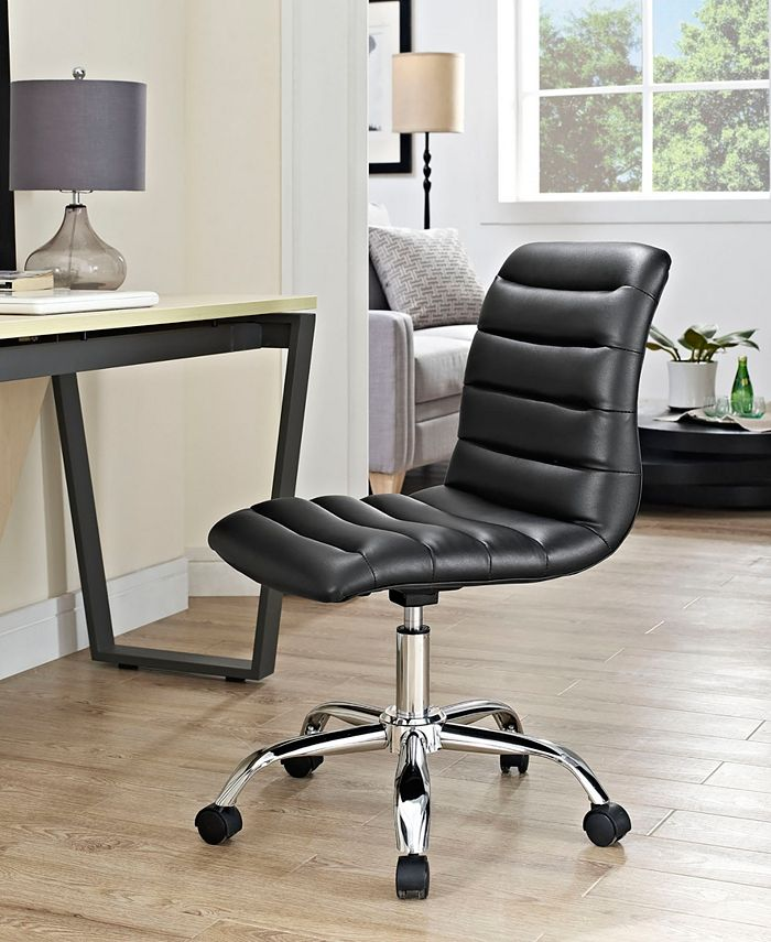 Modway - Ripple Armless Mid Back Vinyl Office Chair in White