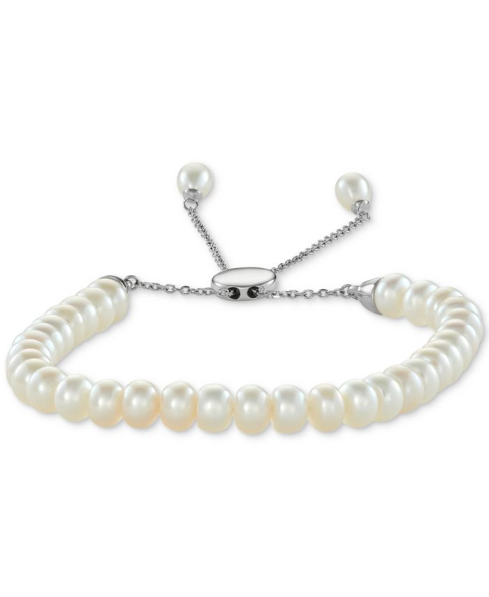 Macy's White Cultured Freshwater Pearl (6-1/2mm) Bolo Bracelet in Sterling Silver (Also in Gray or Pink Cultured Freshwater Pearl) & Reviews - Bracelets - Jewelry & Watches - Macy's