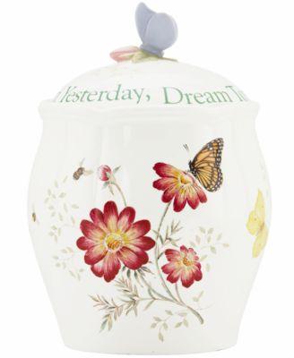 Lenox Cookie Jar, Butterfly Meadow Sentiment