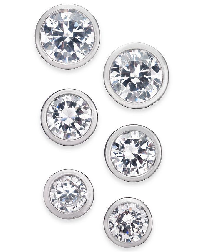 Alfani - Silver-Tone 3-Pc. Set Crystal Bezel Stud Earrings