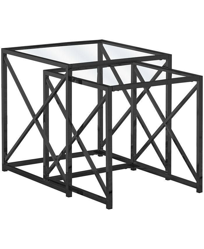 Monarch Specialties - Nesting Table - 2pcs Set Black Nickel Metal Tempered