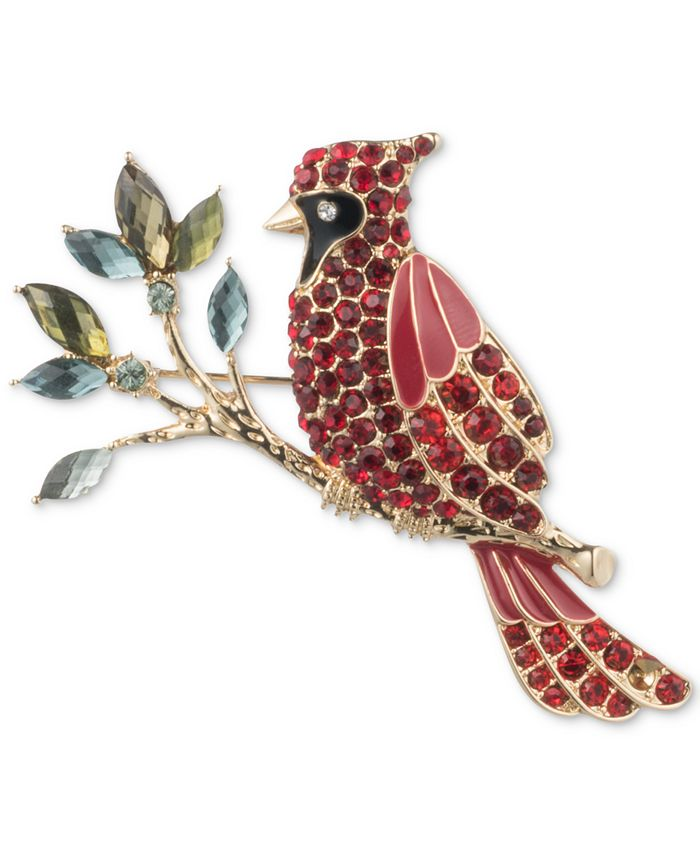 Anne Klein - Gold-Tone Crystal Multicolor Cardinal Pin