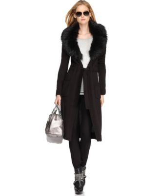 MICHAEL Michael Kors Coat, Long Sleeve Faux Fur Collar Sweater