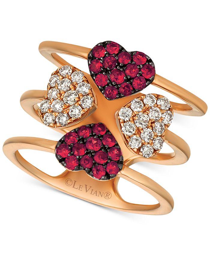 Le Vian - Ruby (1/2 ct. t.w.) & Diamond (1/2 ct. t.w.) Heart Ring in 14k Rose Gold
