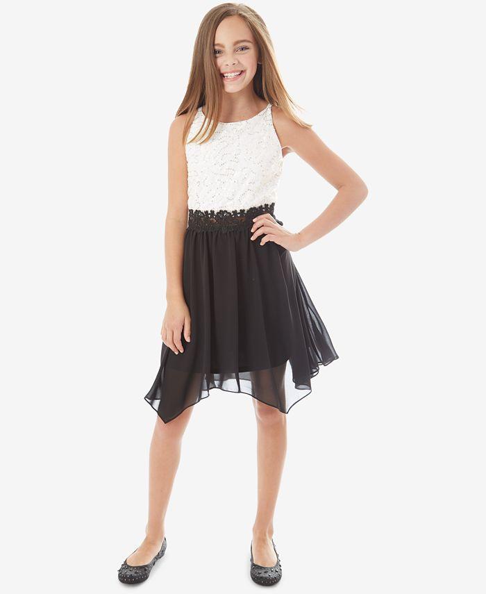 BCX - Big Girls Contrast Sequin Lace Dress
