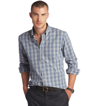 AJ Izod Shirt, Slim Fit Tartan Plaid