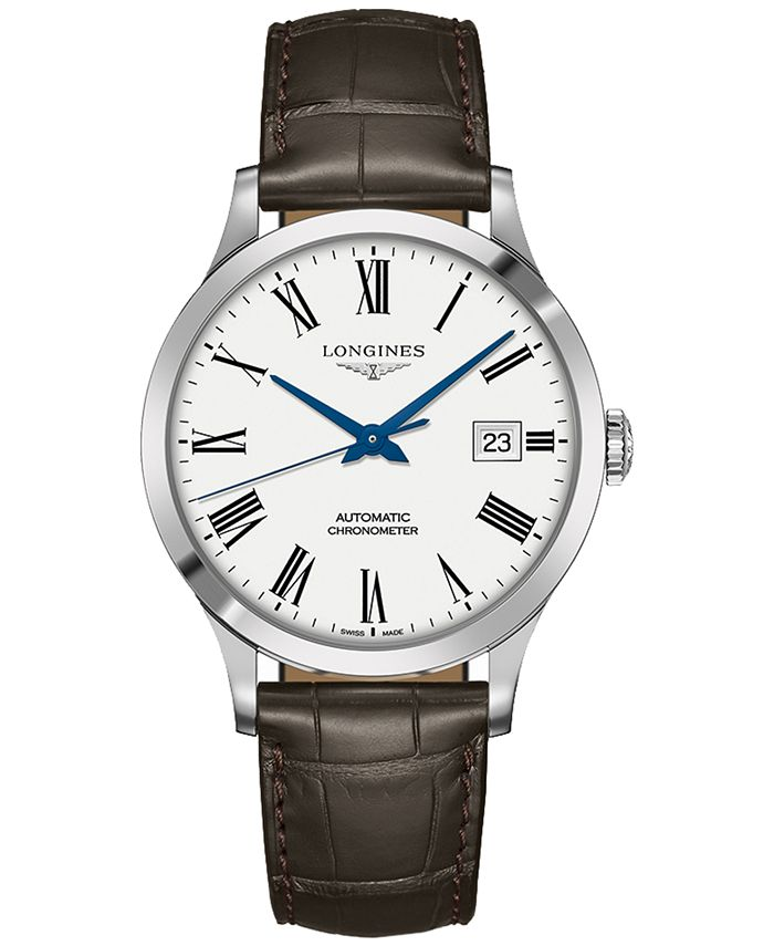 Longines - Men's Swiss Automatic Record Collection Brown Alligator Leather Strap Watch 40mm