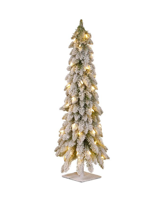 National Tree Company - National Tree 48 Snowy Downswept Forstree with Metal Plate and 100 Clear Lights