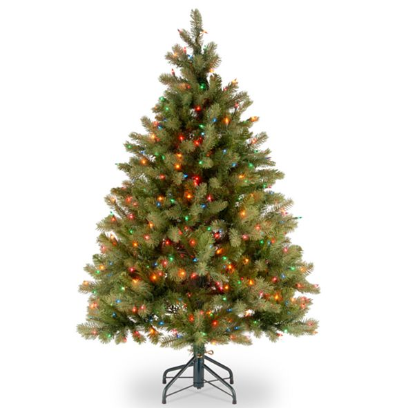 "National Tree Company National Tree 4 .5' ""Feel Real"" Downswept Douglas Fir Hinged Tree with 450 Multi Lights"