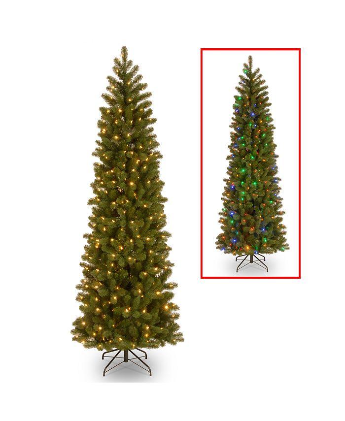 "National Tree Company - National Tree 6 .5"" Feel Real Downswept Douglas Fir Pencil Slim Tree with 300 Dual Color LED LIghts"