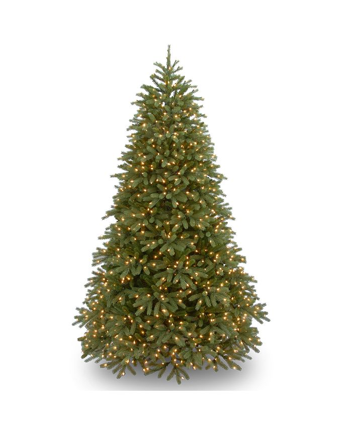 """National Tree Company - National Tree 7 .5' """"Feel-Real"""" Jersey Fraser Medium Fir Hinged Tree with 1000 Warm White LED Lights"""